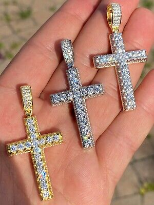 $44.08 • Buy Real Solid 925 Silver Mens Hip Hop 3D Cross Pendant Iced Diamond Gold Necklace