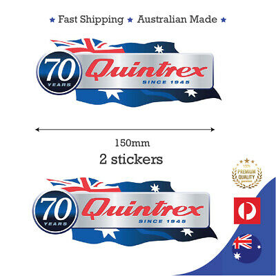 AU24.95 • Buy Quintrex 15cm Fishing Boat Fishing 70 Years Anniversary Sticker Decal 2 Pack