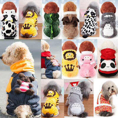 Dog Winter Jumpsuit Clothes Apparel Cute Pet Jumpers Hoodie Coat Costumes • 1.07£