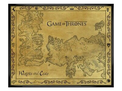 £16.75 • Buy GoT Westeros Poster Game Of Thrones Gloss Black Framed Antique Map 40x50cm