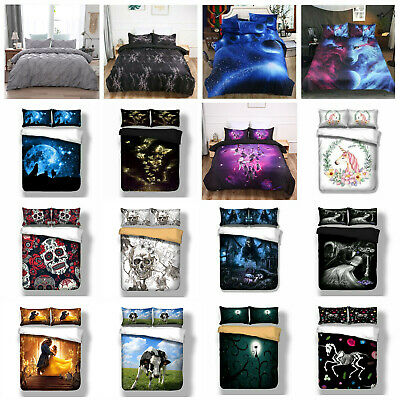 Duvet Quilt Cover Animal Skull Galaxy 3D Bedding Set With Pillow Cases All Sizes • 18.79£