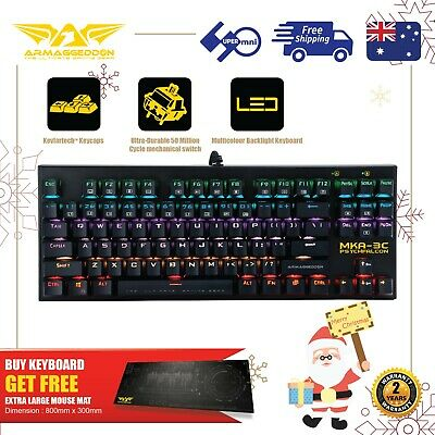 AU59 • Buy Gaming Mechanical Keyboard Blue Switch MultiColor Get Free Large Mousemat 87 Key