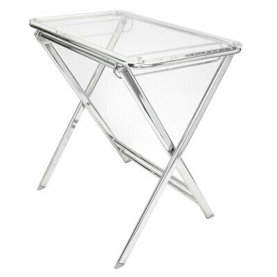 $149.98 • Buy LeisureMod Victorian Modern Foldable End Table Tray With Acrylic Top In Clear