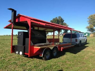 2019 7' X 16' Open Rotisserie Smoker Trailer/Never Used Tailgating BBQ Trailer F • 14,740$