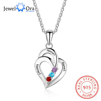 Personalized Name Necklace Heart DIY Birthstone 925 Sterling Silver Women Gift • 18.99$