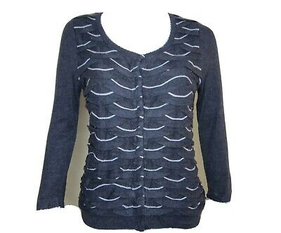 $ CDN22.65 • Buy Anthropologie Yellow Bird Women Winter Waves Medium Cardigan Sweater Gray Button