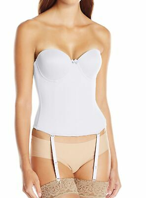 Va Bien Womens Bustiers White USA Size 34D Strapless Low-Back Hook & Eye $79 979 • 26.99£