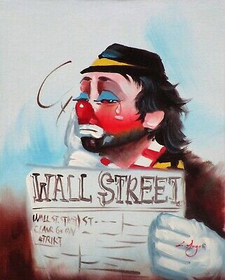 $39 • Buy Clown With Wall Street Journal (L. Angeli Decorative Oil Painting)
