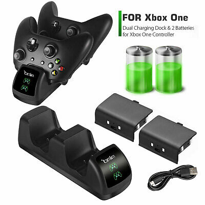 $22.97 • Buy XBOX ONE S X Dual Charging Dock Station Controller Charger+2Rechargeable Battery