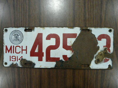$ CDN60.96 • Buy 1914 Michigan Porcelain Licence Plate