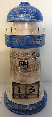 Hand Made Carved Wooden Lighthouse Perpetual Calendar Nautical • 6.95£