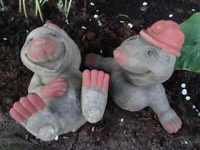 £75 • Buy Ornate Small 1 Pair Hand Finished English Stone Garden Moles Statue Ornaments