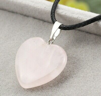 Beautiful Rose Pink Quartz Love Heart Pendant Black Cord Necklace Nice Gift HQ • 2.99£