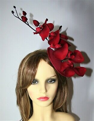 Dark Red Orchid Flower Pillbox Hat Clip- Fascinator - Wedding, Races, Party. • 14.99£