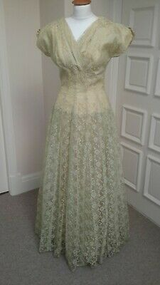 £115 • Buy Vintage 1950s Yellow Green Lace Emma Domb Evening Gown Dress B36  W28