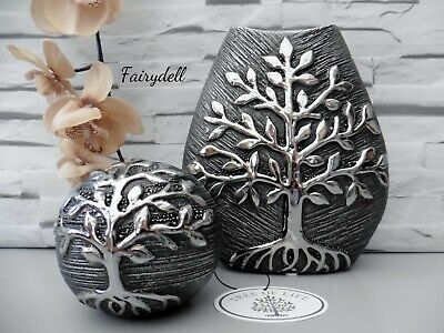 TREE OF LIFE Room Decor Grey & Silver Embossed Vase & Matching Ball Spheres  • 11.50£