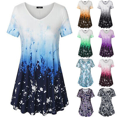 AU17.76 • Buy Womens Tunic Long Tops Short Sleeve Floral Summer Loose T-Shirt Blouse Plus Size