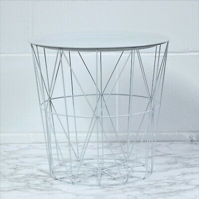 £13.95 • Buy White Round Metal Tray Side End Table Geometric Storage Basket Home Furniture