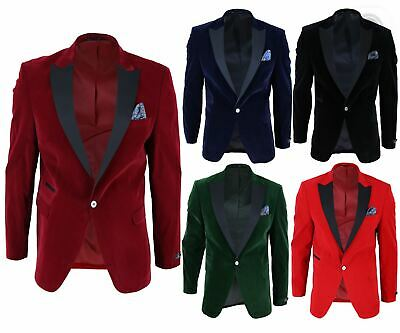 $ CDN153.81 • Buy Mens Soft Velvet 1 Button Dinner Jacket Tuxedo Blazer Smart Casual Tailored Fit