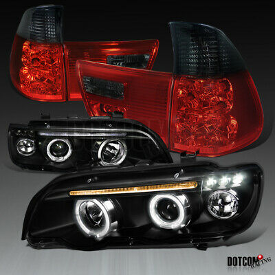 $242.48 • Buy BMW 2001-2003 X5 Black Dual Halo LED Projector Headlights+Red/Smoke Tail Lamps