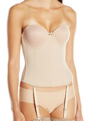 Va Bien Women Bustier Nude Beige USA Size 38D Hook & Eye Boned Low-Back $79 #004 • 23.99£
