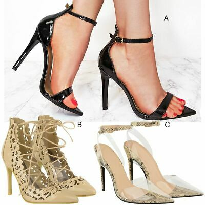 Womens Ladies Barley There High Heels Stilettos Sandals Pointed Court Shoes Size • 8.99£