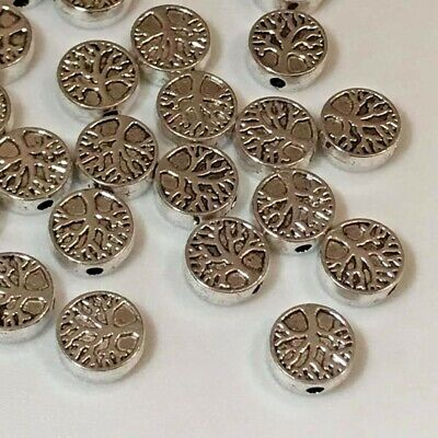 £2.25 • Buy 10 Or 20pcs  Tibetan Silver Spacer Beads Tree Of Life Double Sided 9mm Round
