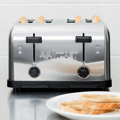 Commercial 4-Slice Toaster 1.5 Inch Slots Toasted Bread Bagels Waffles Machine • 122.61$