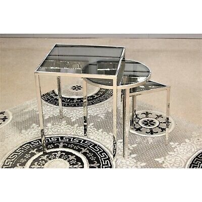 Set Of 3 Theo Silver Stainless Steel And Glass Nesting Side End Tables Furniture • 219.95£