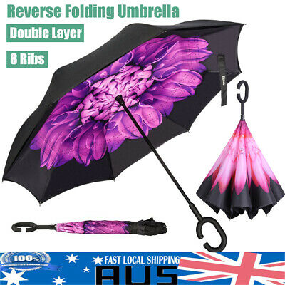 AU14.39 • Buy Double Layer 8 Ribs Folding Umbrella 42  Upside Down Inverted Reverse Windproof
