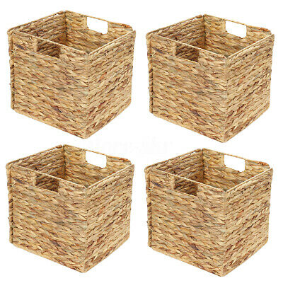 Set Of 4 Square Seagrass Woven Wicker Storage Basket Organizer Cube With  • 36.98£