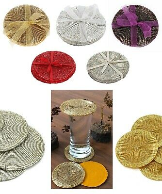 £3.99 • Buy Beaded Coasters Drink Mats Gold White Purple Red Silver Beads Christmas Wedding
