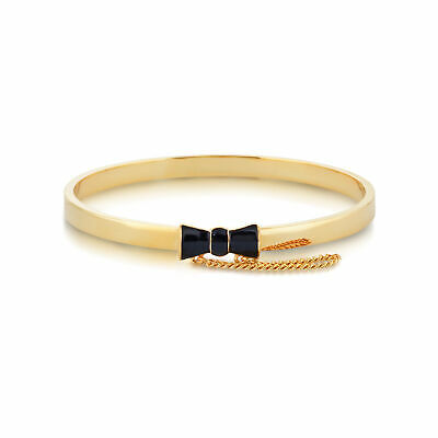£32 • Buy Disney Couture Kingdom Official Minnie Mouse Gold-Plated Black Enamel Bow Bangle