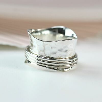 £23.99 • Buy Bnwt 925 Sterling Silver Wavy Hammered Spinning Ring - Free P&p