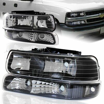 $77.50 • Buy For 2000-2006 Chevy Suburban Black Housing Clear Lens Headlights + Bumper Lamps