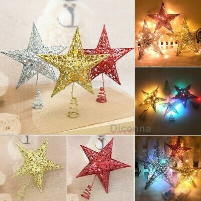 Christmas Glitter Star Iron Ornament Xmas Tree Topper Party Indoor Home Decor • 5.49$