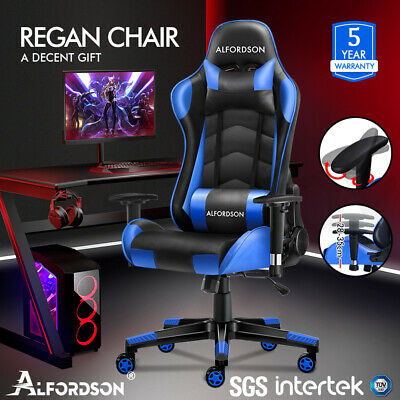 AU159.95 • Buy ALFORDSON Gaming Chair Office Executive Racing Seat PU Leather REGAN Blue