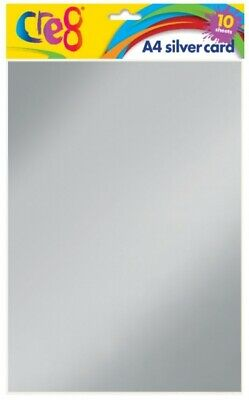 SILVER METALIC A4 CARD 10 SHEETS 200gsm ARTS CRAFTS GIFT CARD MAKING CRAFTING • 2.35£