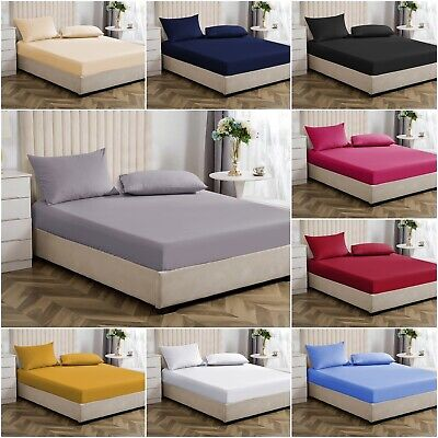 Extra Deep Full Fitted Sheet Mattress Bed Elastic Sheets Single Double King Size • 8.99£