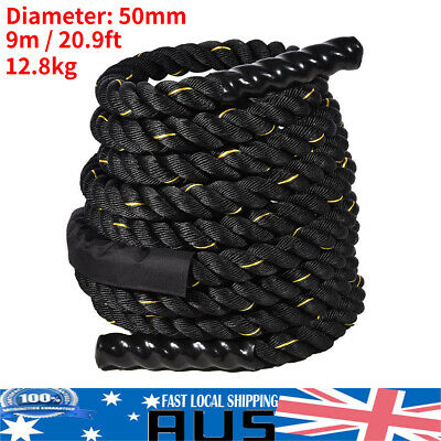 AU94.49 • Buy 50mm 9M Heavy Duty Gym Battle Rope Power Strength Training Exercise Fitness