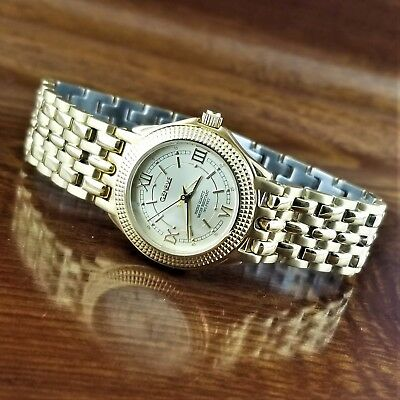 $150 • Buy Vintage Womens Geneve Swiss Made 14K Gold Plated Coin Edge Bezel Watch 165' WR