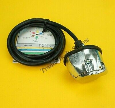 Pre-wired 7 Pin Metal Trailer Towing Socket 12N With Colour Code Cable Guide  • 12.99£