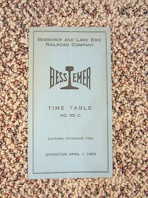 B&LE, Bessemer And Lake Erie Railroad Co. Timetable No. 95-C, 1953 • 8$