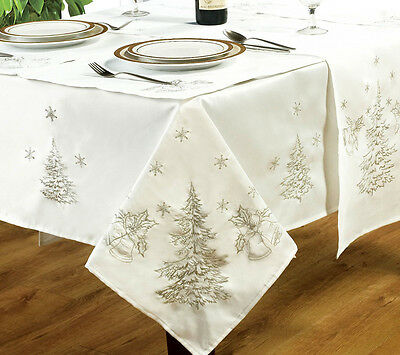 Embroidered Festive Fir Trees White Silver Christmas Tablecloths Runner Napkins • 23.98£