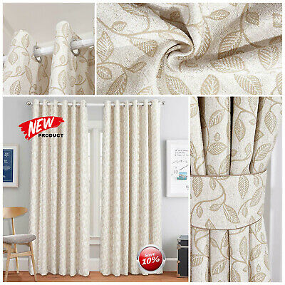 Luxury Heavy Jacquard Eyelet Ring Top Fully Lined Ready Made Floral Curtains New • 6.99£