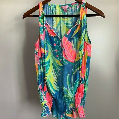 Lilly Pulitzer- Small Island Satin Print Bennet Blue Top Blouse • 19.99$