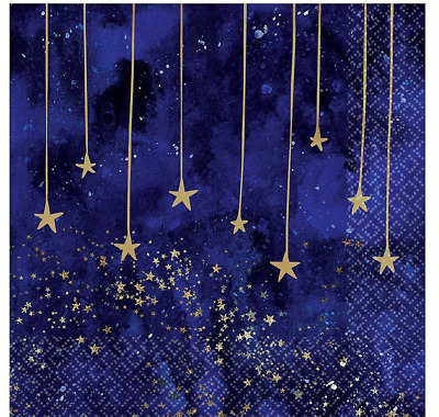 £4.89 • Buy Midnight New Year Lunch Napkins Party Table Decoration Years Eve Stars 2ply X 16