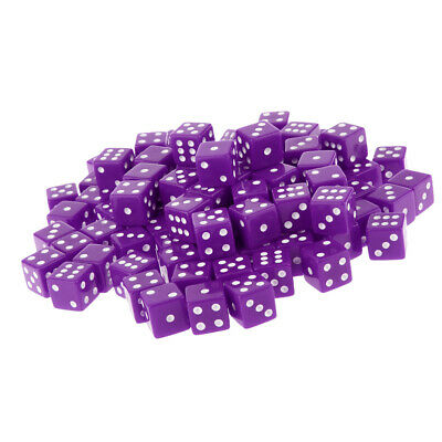 AU19.88 • Buy 100 Packs Six Sided Dice D6 Square Dice For Board Game Toys Tabletop RPG Purple