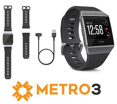 AU239.95 • Buy Fitbit Ionic Smart Fitness Watch Charcoal Smoke Small & Large Wristbands Incl.