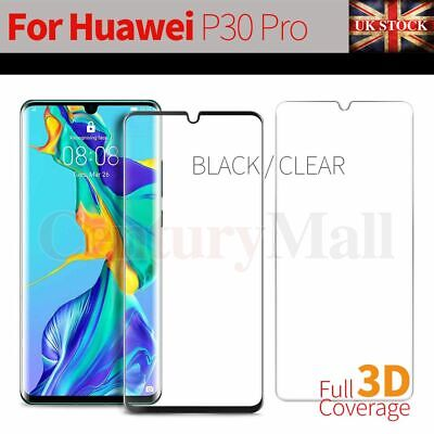 Black Clear For Huawei P30 Pro Tempered Glass Screen Protector Full Cover Curved • 3.59£